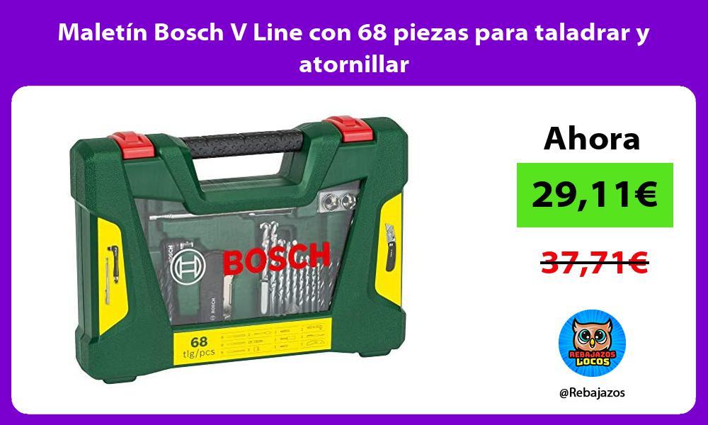 Maletin Bosch V Line con 68 piezas para taladrar y atornillar
