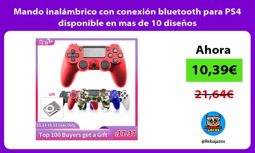 Mando inalambrico con conexion bluetooth para PS4 disponible en mas de 10 disenos