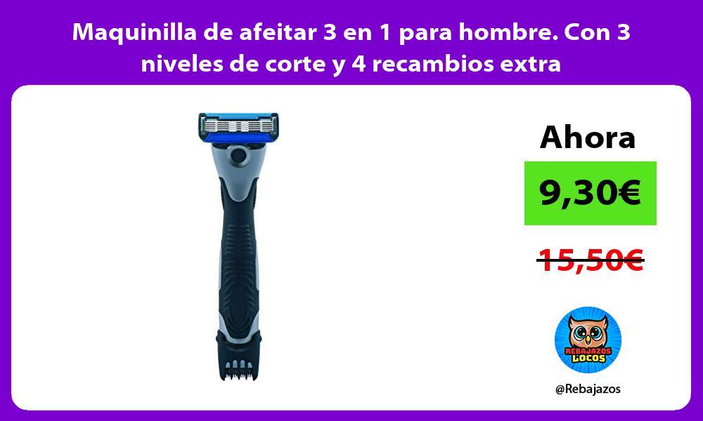 Maquinilla de afeitar 3 en 1 para hombre Con 3 niveles de corte y 4 recambios extra
