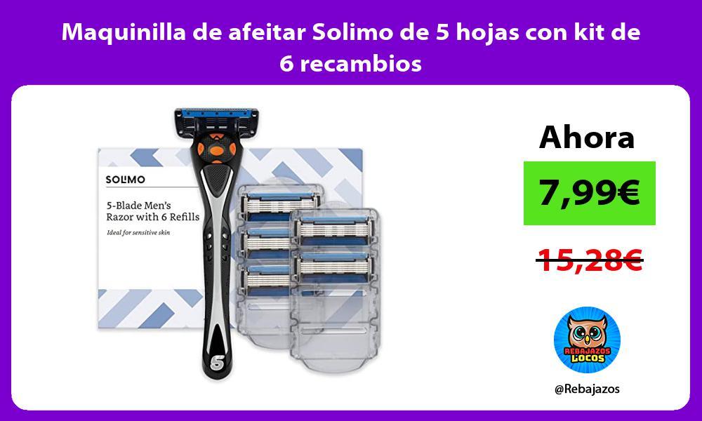 Maquinilla de afeitar Solimo de 5 hojas con kit de 6 recambios