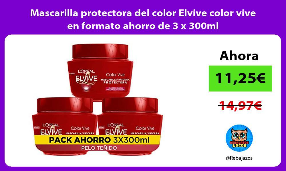 Mascarilla protectora del color Elvive color vive en formato ahorro de 3 x 300ml