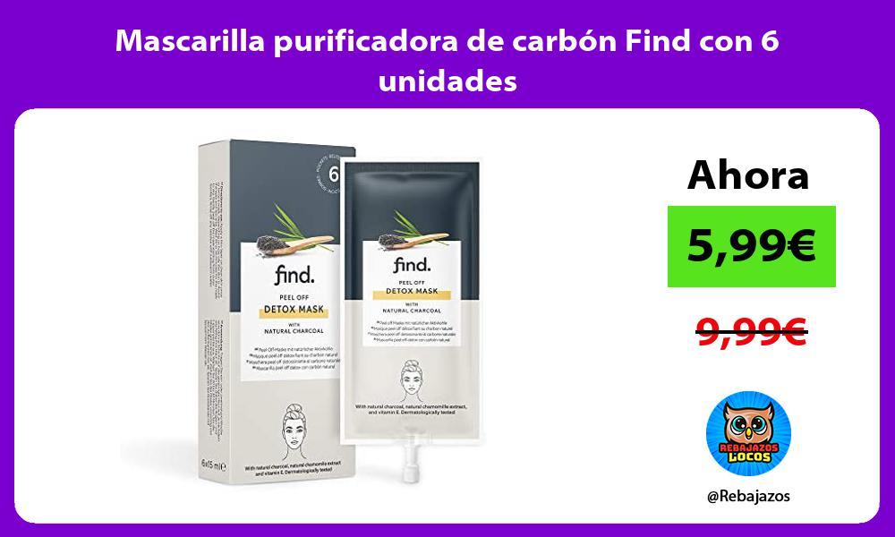 Mascarilla purificadora de carbon Find con 6 unidades