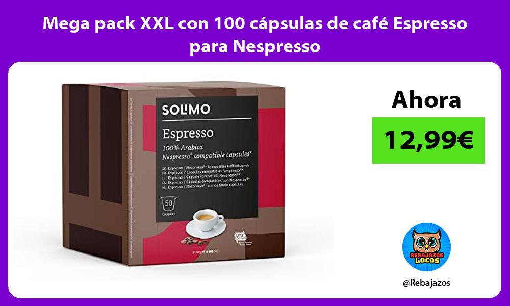 Mega pack XXL con 100 capsulas de cafe Espresso para Nespresso