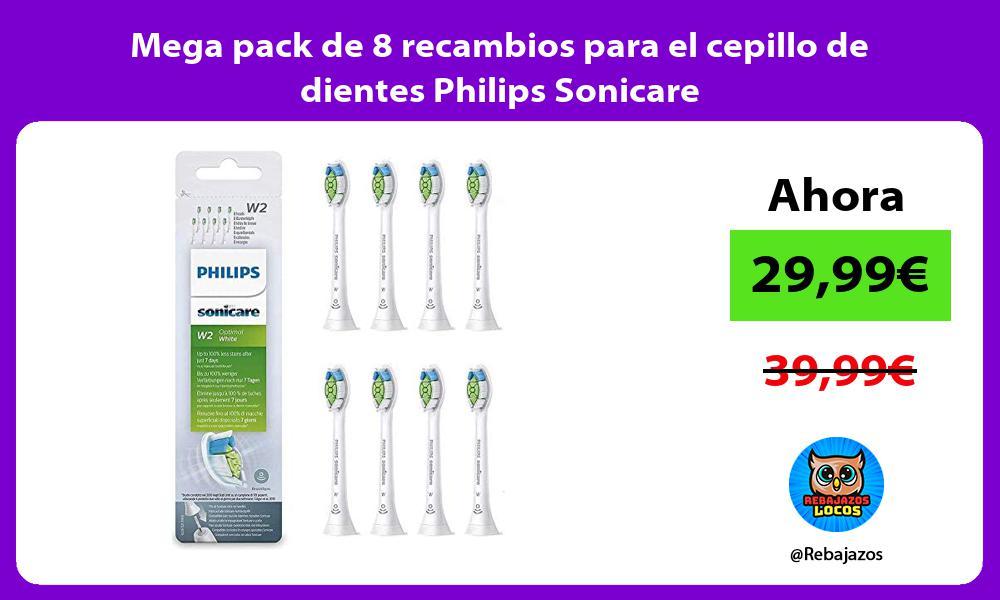 Mega pack de 8 recambios para el cepillo de dientes Philips Sonicare