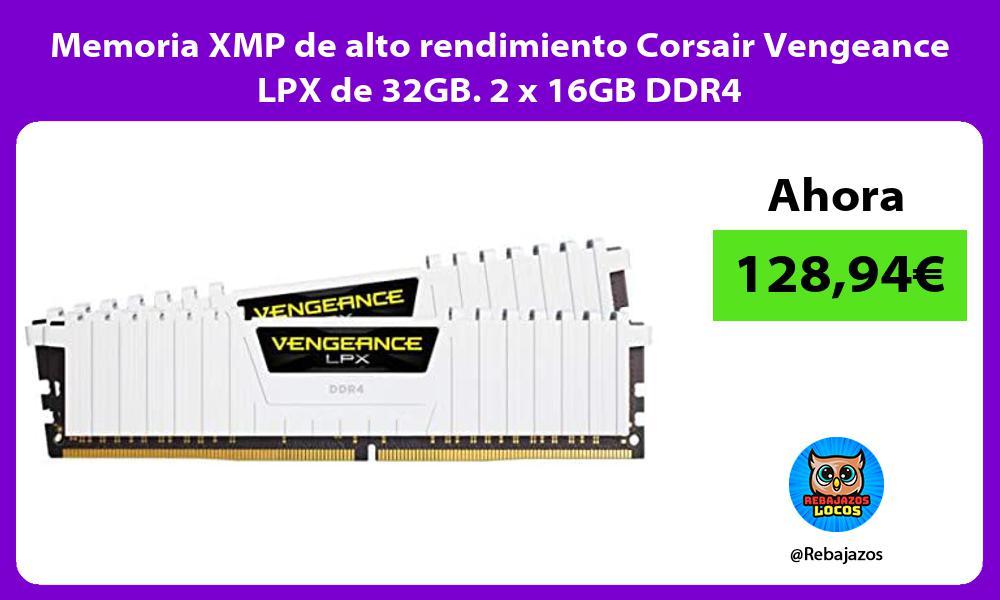 Memoria XMP de alto rendimiento Corsair Vengeance LPX de 32GB 2 x 16GB DDR4