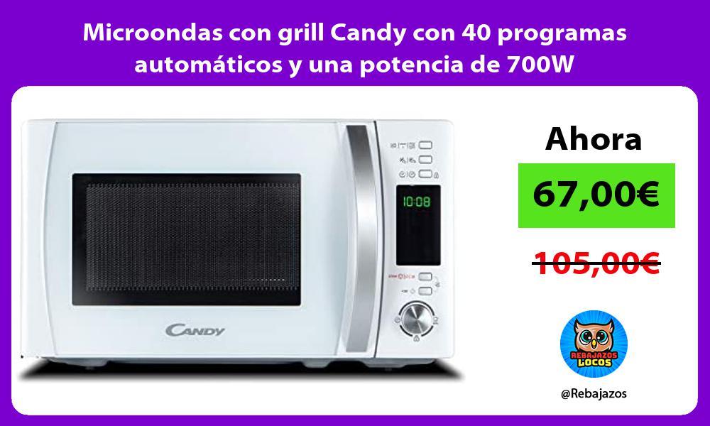 Microondas con grill Candy con 40 programas automaticos y una potencia de 700W