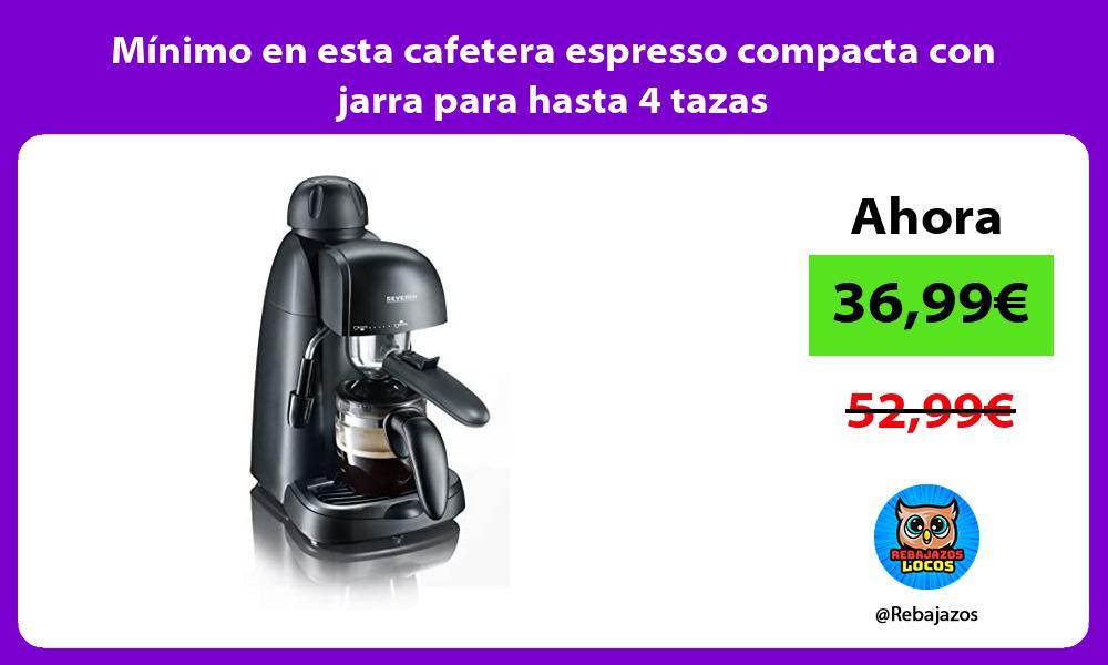Minimo en esta cafetera espresso compacta con jarra para hasta 4 tazas