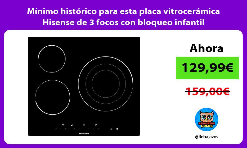 Minimo historico para esta placa vitroceramica Hisense de 3 focos con bloqueo infantil