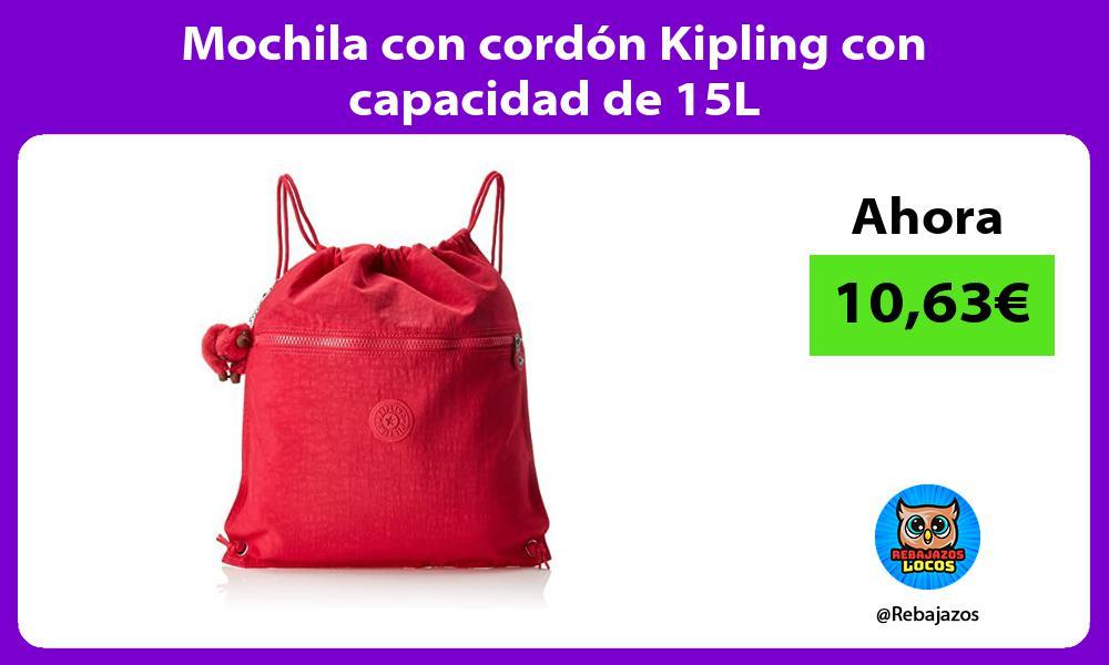 Mochila con cordon Kipling con capacidad de 15L
