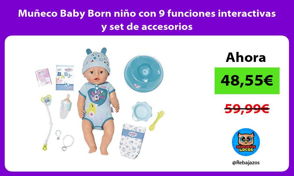 Muneco Baby Born nino con 9 funciones interactivas y set de accesorios