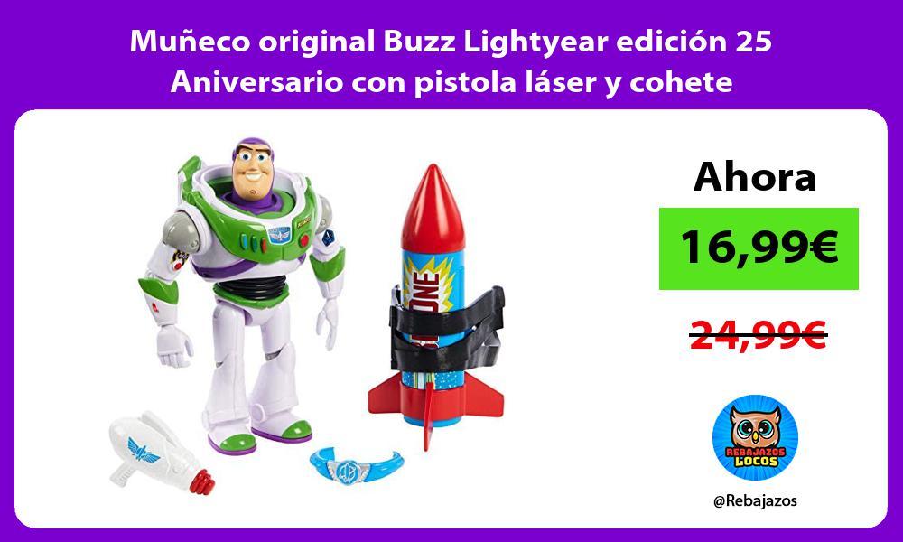 Muneco original Buzz Lightyear edicion 25 Aniversario con pistola laser y cohete
