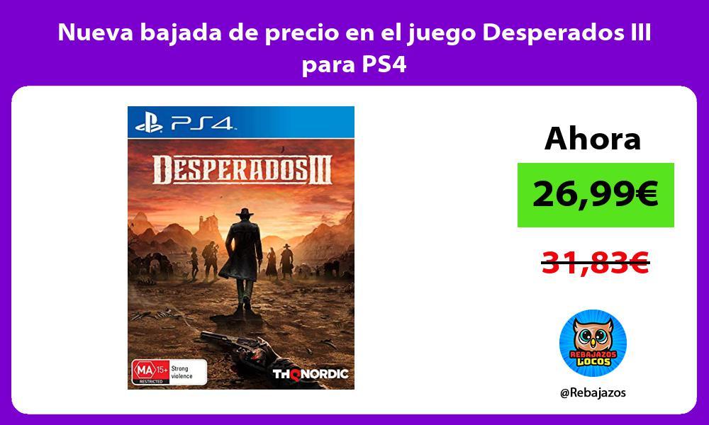 Nueva bajada de precio en el juego Desperados III para PS4