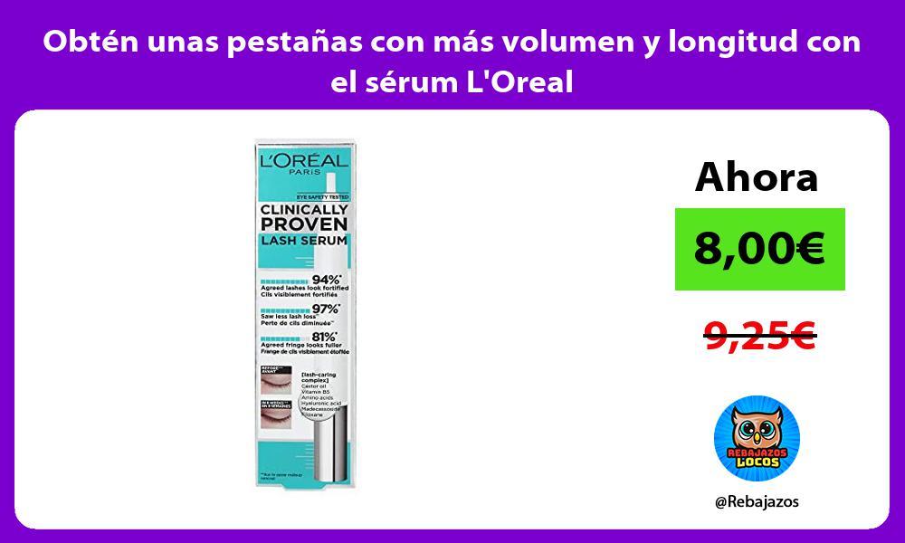 Obten unas pestanas con mas volumen y longitud con el serum LOreal