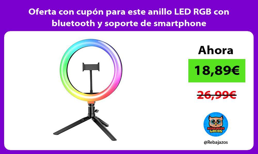 Oferta con cupon para este anillo LED RGB con bluetooth y soporte de smartphone