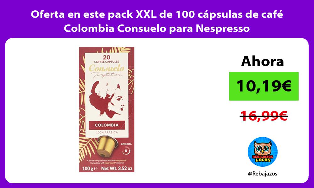 Oferta en este pack XXL de 100 capsulas de cafe Colombia Consuelo para Nespresso
