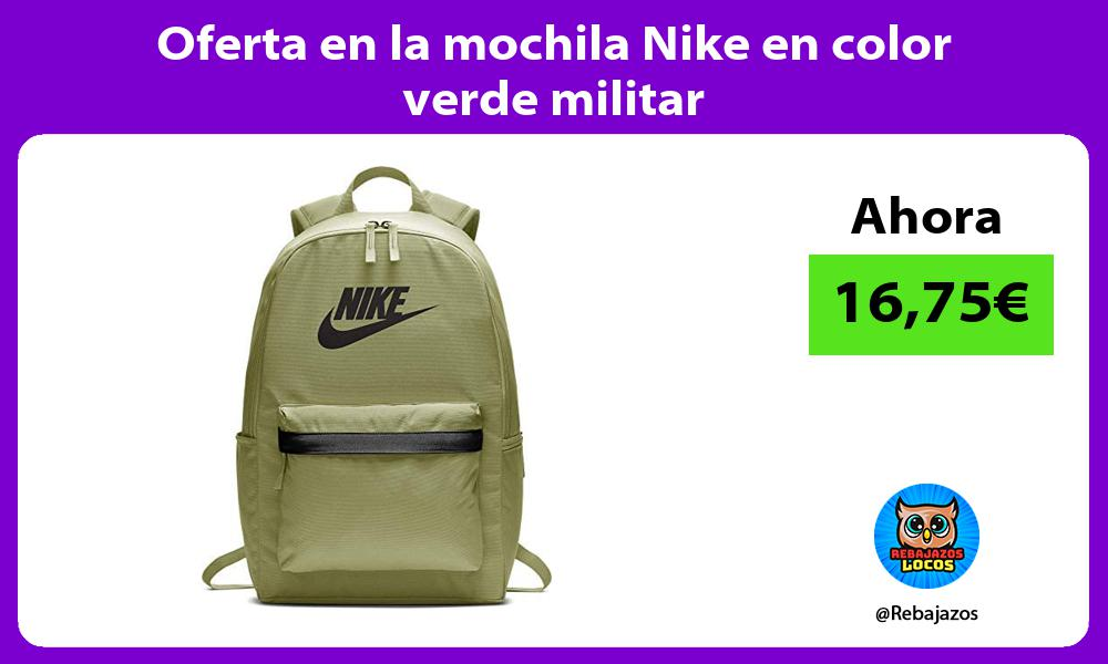 Oferta en la mochila Nike en color verde militar
