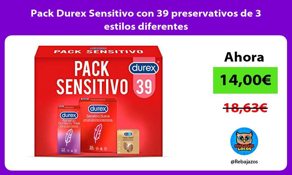 Pack Durex Sensitivo con 39 preservativos de 3 estilos diferentes