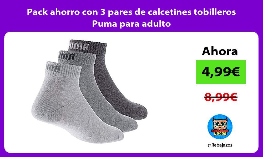 Pack ahorro con 3 pares de calcetines tobilleros Puma para adulto