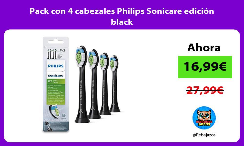 Pack con 4 cabezales Philips Sonicare edicion black
