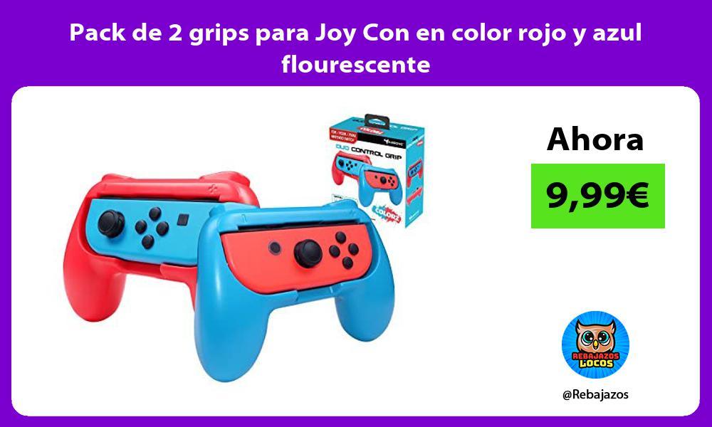 Pack de 2 grips para Joy Con en color rojo y azul flourescente