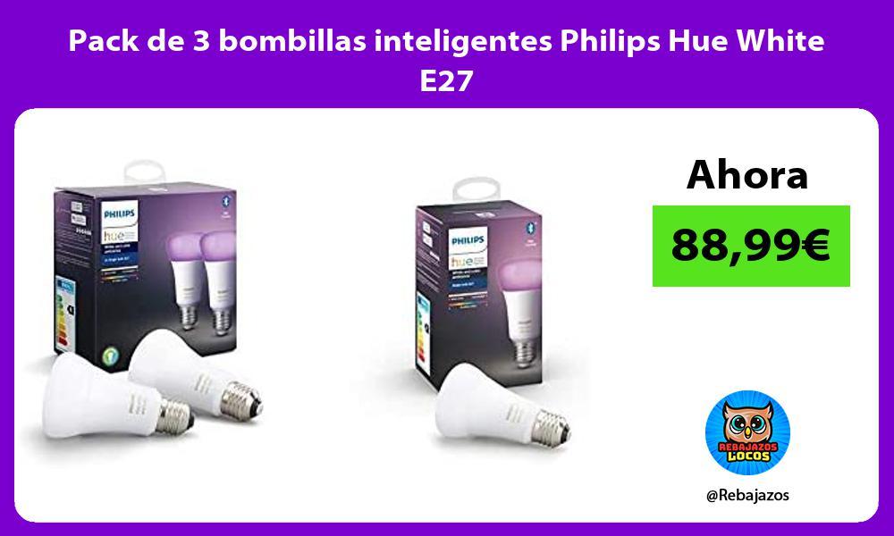 Pack de 3 bombillas inteligentes Philips Hue White E27