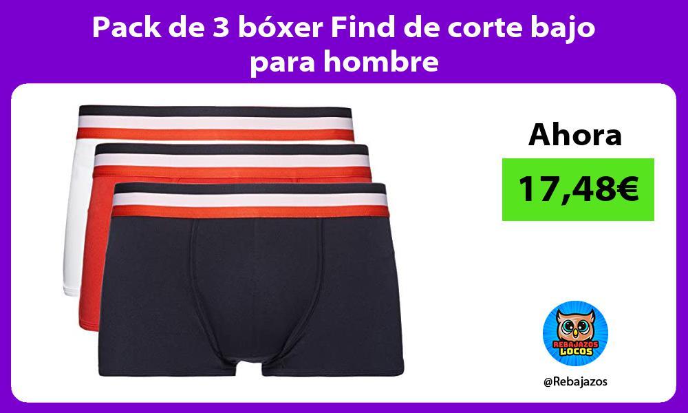 Pack de 3 boxer Find de corte bajo para hombre