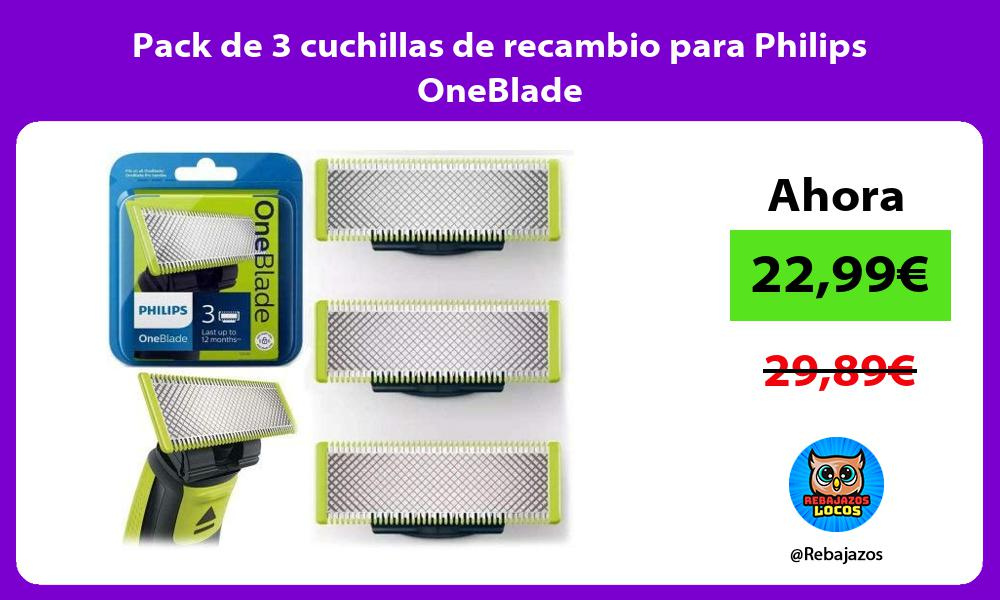Pack de 3 cuchillas de recambio para Philips OneBlade