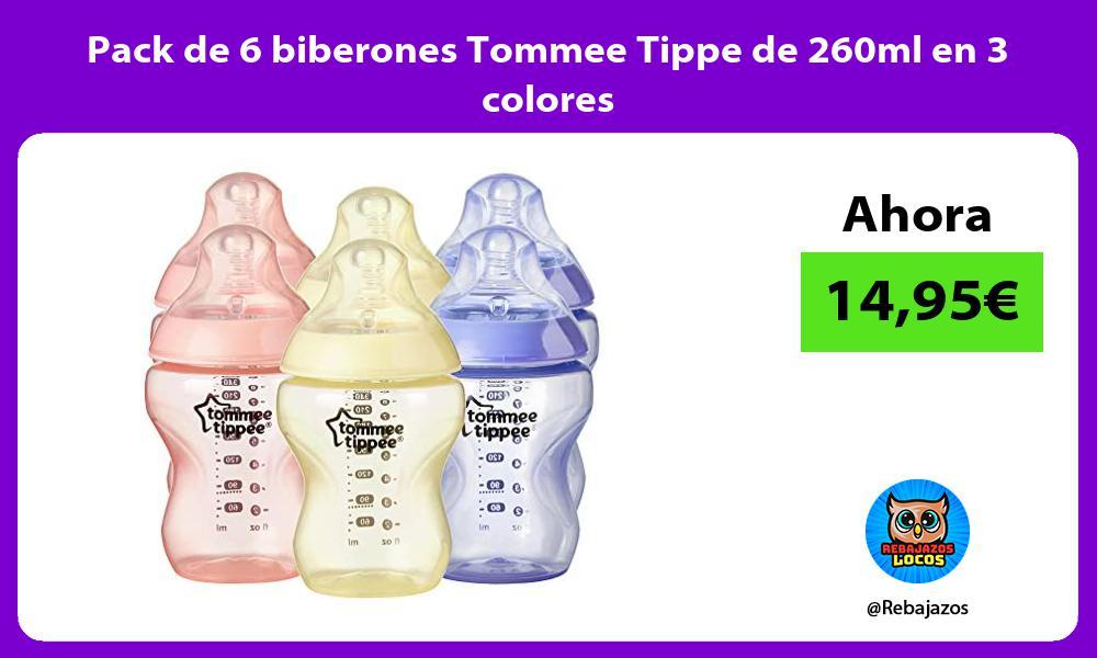 Pack de 6 biberones Tommee Tippe de 260ml en 3 colores