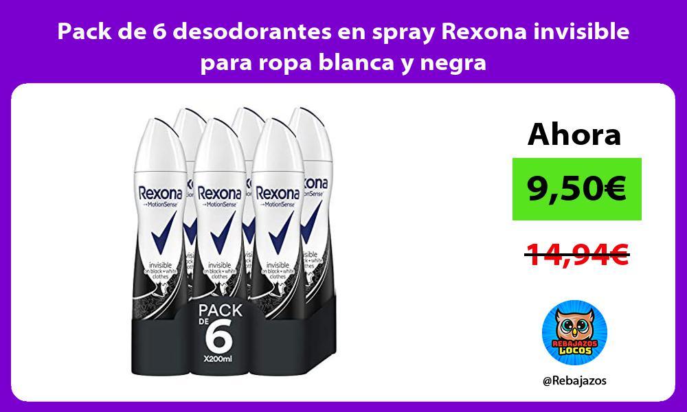 Pack de 6 desodorantes en spray Rexona invisible para ropa blanca y negra