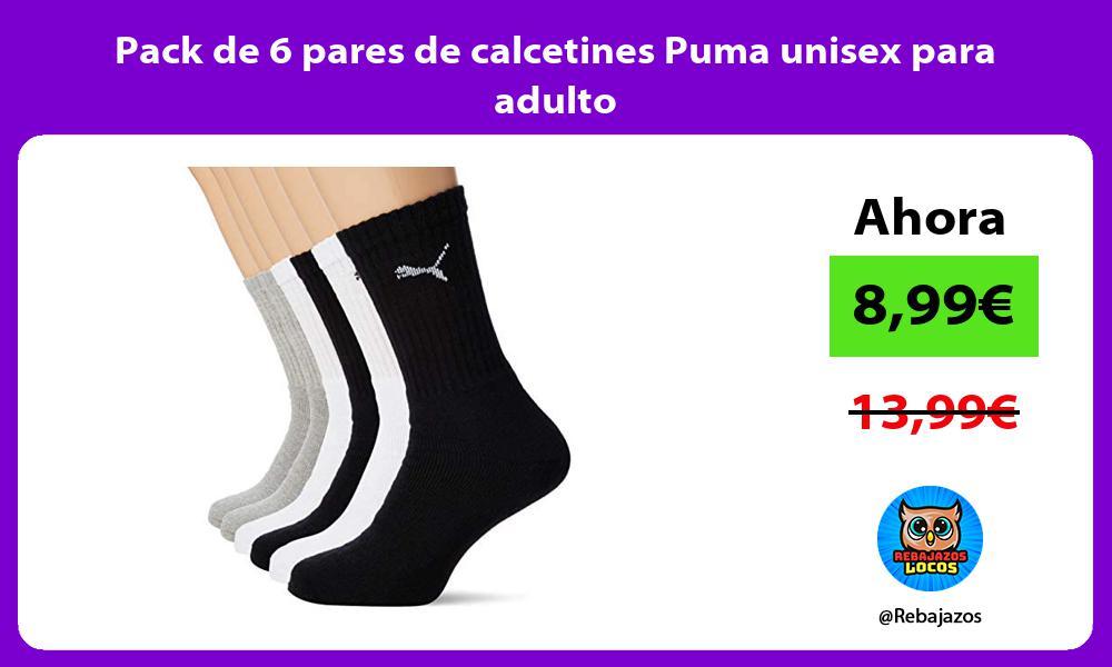 Pack de 6 pares de calcetines Puma unisex para adulto