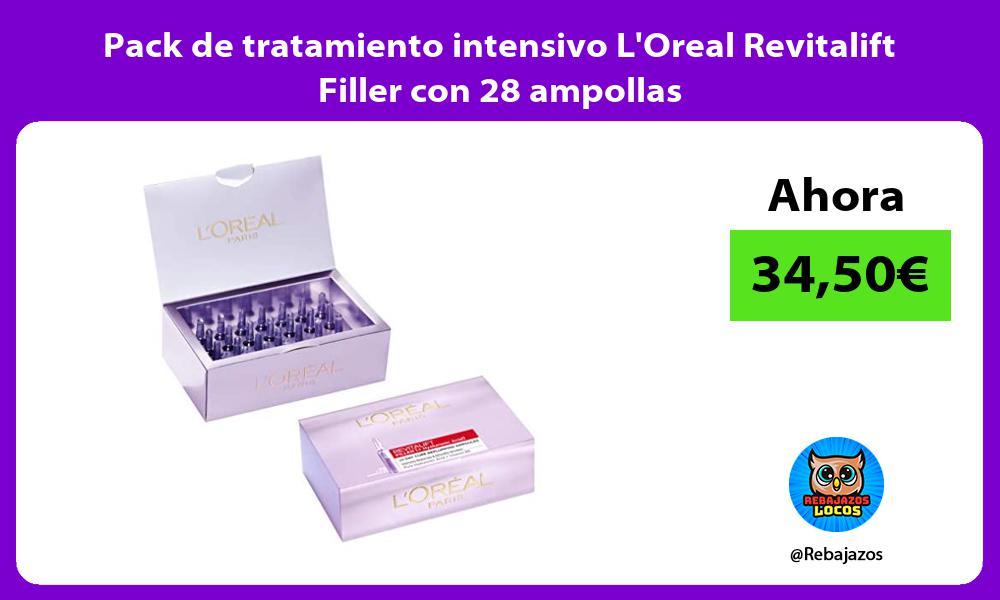 Pack de tratamiento intensivo LOreal Revitalift Filler con 28 ampollas