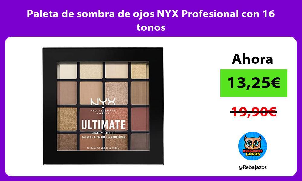 Paleta de sombra de ojos NYX Profesional con 16 tonos