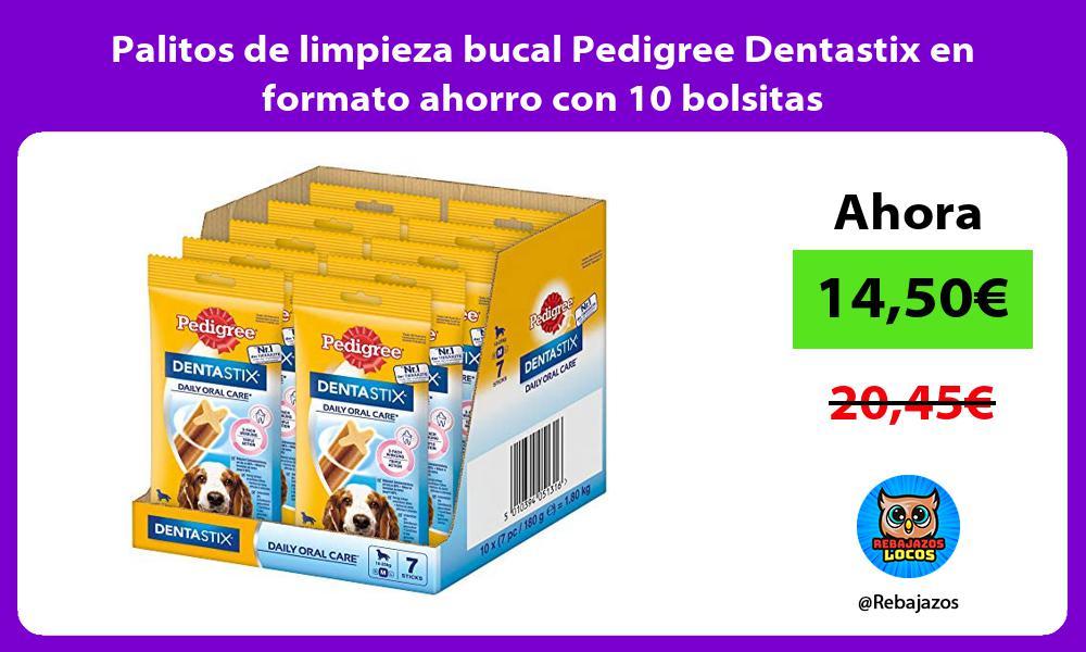 Palitos de limpieza bucal Pedigree Dentastix en formato ahorro con 10 bolsitas