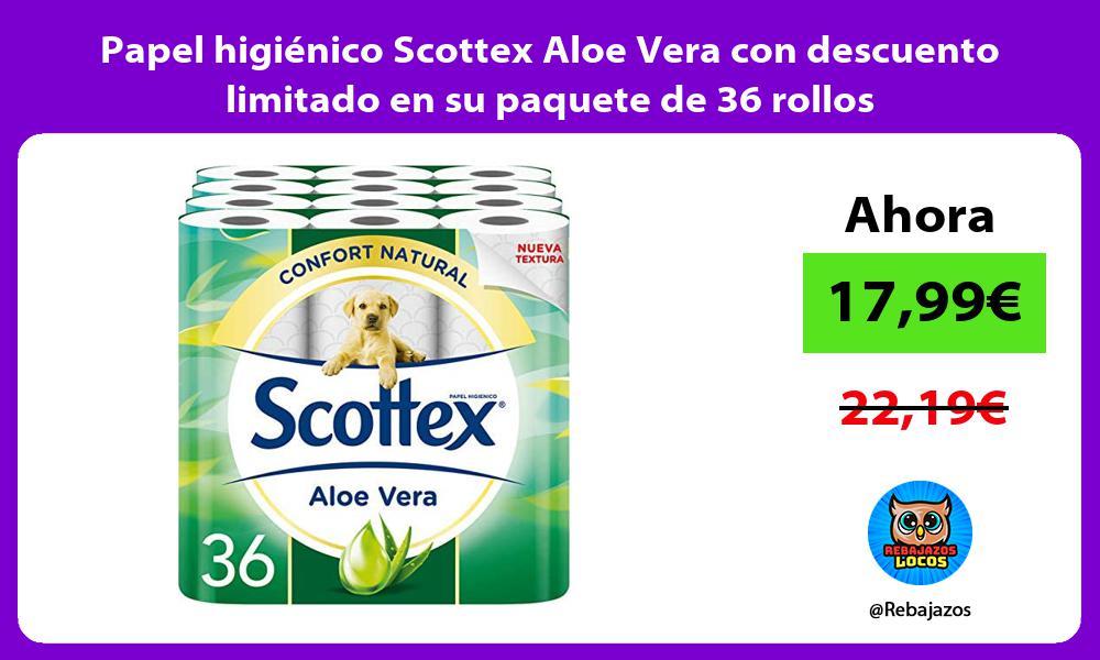 Papel higienico Scottex Aloe Vera con descuento limitado en su paquete de 36 rollos