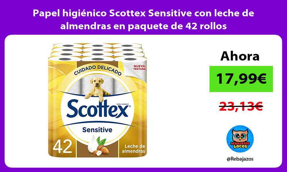 Papel higienico Scottex Sensitive con leche de almendras en paquete de 42 rollos