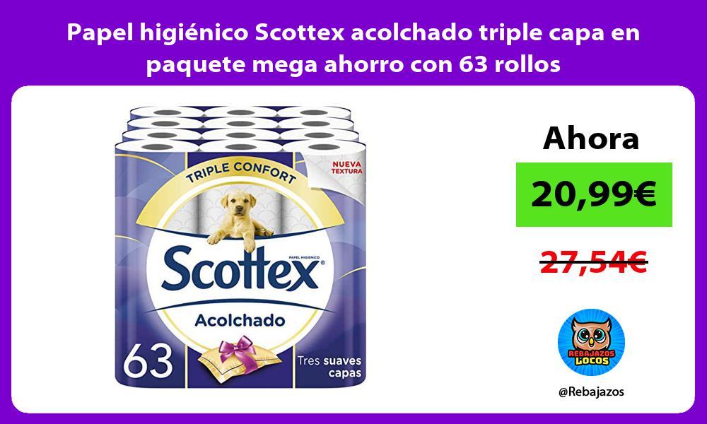 Papel higienico Scottex acolchado triple capa en paquete mega ahorro con 63 rollos