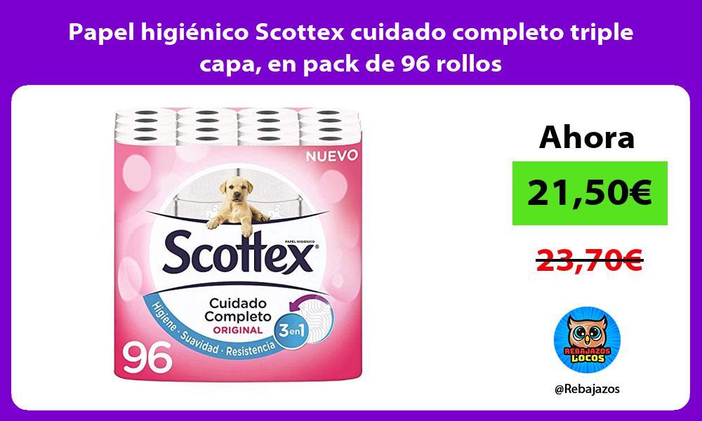 Papel higienico Scottex cuidado completo triple capa en pack de 96 rollos