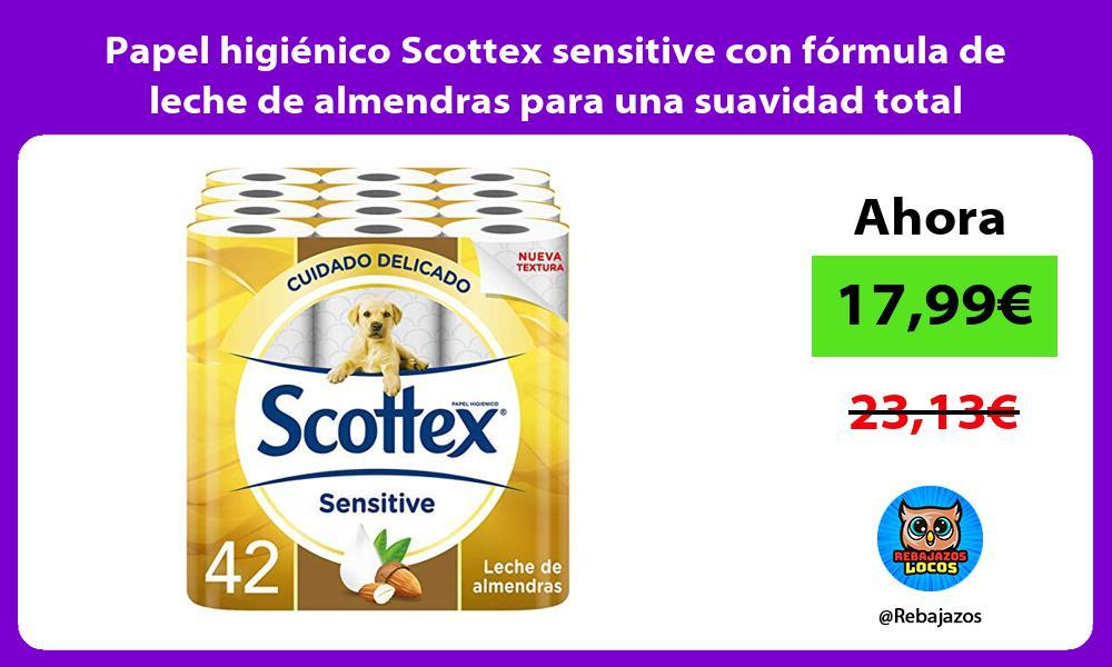 Papel higienico Scottex sensitive con formula de leche de almendras para una suavidad total