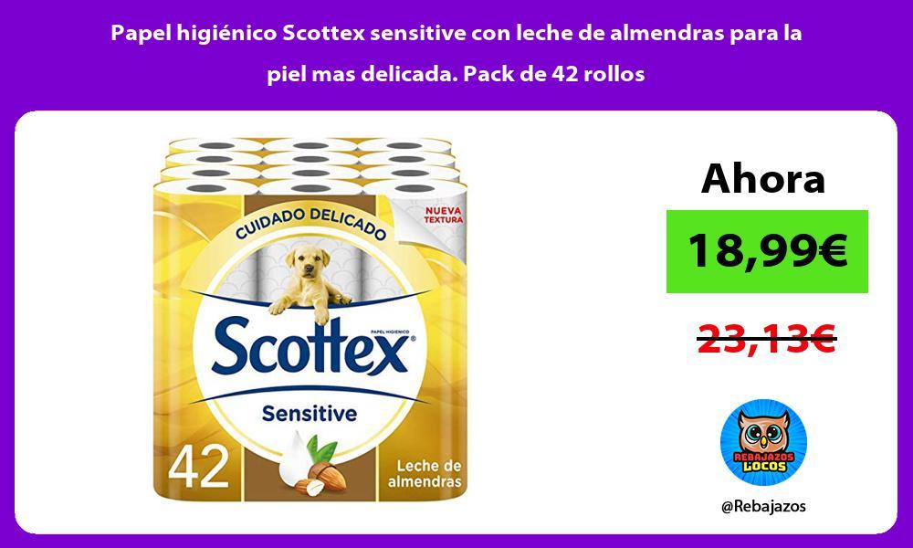 Papel higienico Scottex sensitive con leche de almendras para la piel mas delicada Pack de 42 rollos