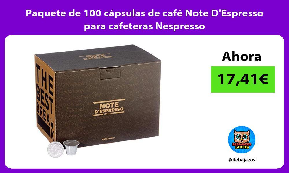 Paquete de 100 capsulas de cafe Note DEspresso para cafeteras Nespresso