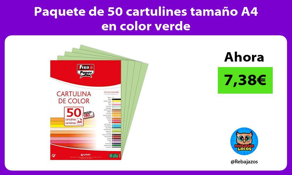 Paquete de 50 cartulines tamano A4 en color verde