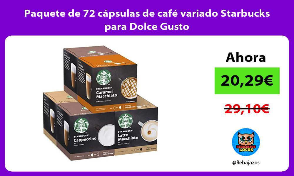 Paquete de 72 capsulas de cafe variado Starbucks para Dolce Gusto
