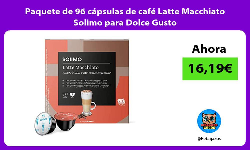 Paquete de 96 capsulas de cafe Latte Macchiato Solimo para Dolce Gusto
