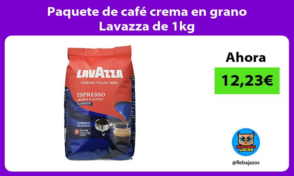 Paquete de cafe crema en grano Lavazza de 1kg