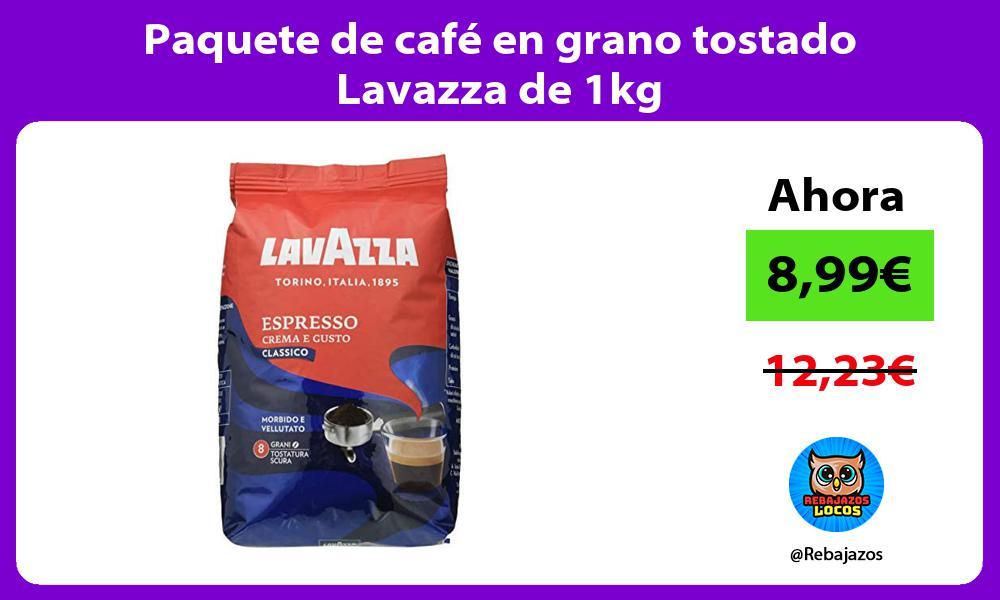 Paquete de cafe en grano tostado Lavazza de 1kg