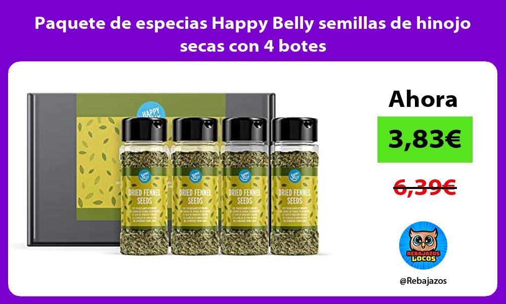 Paquete de especias Happy Belly semillas de hinojo secas con 4 botes