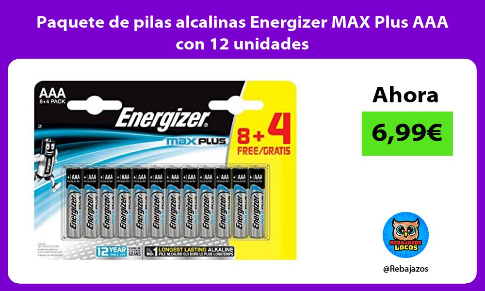 Paquete de pilas alcalinas Energizer MAX Plus AAA con 12 unidades