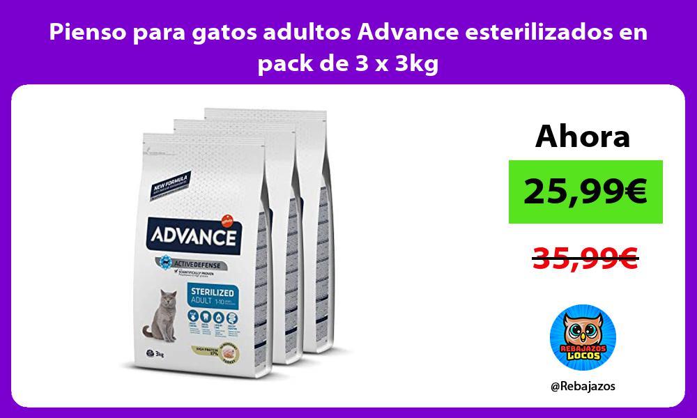 Pienso para gatos adultos Advance esterilizados en pack de 3 x 3kg
