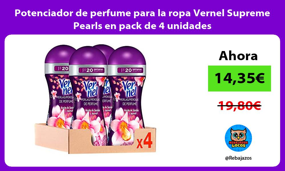 Potenciador de perfume para la ropa Vernel Supreme Pearls en pack de 4 unidades