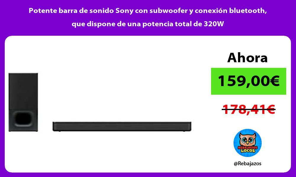 Potente barra de sonido Sony con subwoofer y conexion bluetooth que dispone de una potencia total de 320W